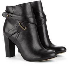 Sole Society Kaila block heel bootie ($90) ❤ liked on Polyvore featuring shoes, boots, ankle booties, ankle boots, black, heels, leather ankle boots, short black boots, black heel booties and leather booties