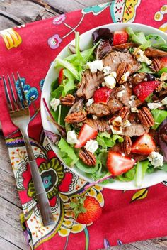 Grilled Flank Steak Salad With Strawberries
