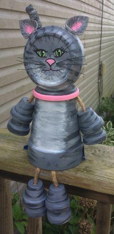 Clay pot terra cotta cat