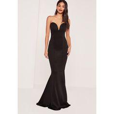 Missguided Tall Scuba Bandeau Fishtail Maxi Dress (52 AUD) ❤ liked on Polyvore…