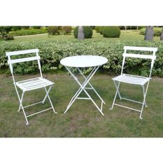 Incroyable White Folding Metal Bistro Furniture Set From Target