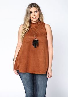 Plus Size Camel Suede High Neck Tank Top with Necklace