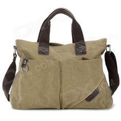 Locallion 1303 Men's Waterproof Casual Cotton Canvas Single Shoulder Bag / Satchel - Khaki