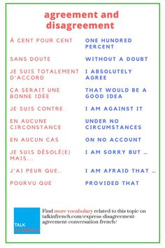 If you want to discuss your opinions in French, you need to know the relevant vocabulary also.  Get here the list of French expressions for disagreement and agreement + download the list in PDF format for free!  https://www.talkinfrench.com/express-disagr