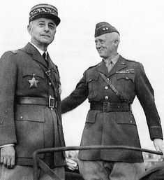 General Auguste Paul Nogues (left), the French resident-general of Morocco, and Major General George S., at a parade in Rabat af. Military Officer, Military Units, Military History, French Armed Forces, George Patton, Major General, French Army, United States Navy, Us Army