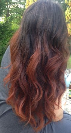 Copper Ombre Dip Dye Hair