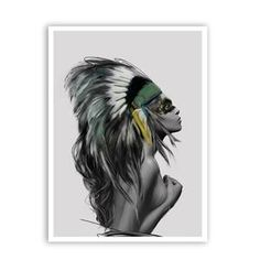 Beauty Art Canvas Painting Native American Indian Girl Feathered Poster Wall Picture Modern Home Wall Art Decor Print American Indian Girl, Native American Girls, American Indians, Home Wall Art, Wall Art Decor, Indian Wall Art, Portraits, Beauty Art, Beauty Stuff