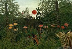 Henri J.F. Rousseau - Forêt vierge au soleil couchant. Nègre attaqué par un léopard