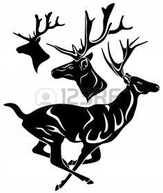 white deer head silhouette art print with dark by blockpartyprints animal art pinterest white deer heads deer head silhouette and silhouette art