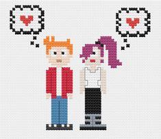 https://www.etsy.com/listing/198083578/futurama-fry-and-leela-cross-stitch futurama cross stitch pattern fry leela dmc floss