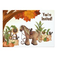 Personalized Cute Pony Autumn Horse Birthday Party Invitations