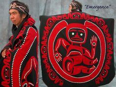 """""""Emergence"""" button blanket ceremonial robe - wool appliqued on wool"""