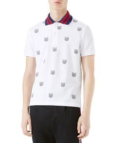 Tiger Head Polo Shirt, White
