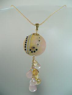Artist Lampwork Glass Bead Pendant with Gemstone by KimFisher