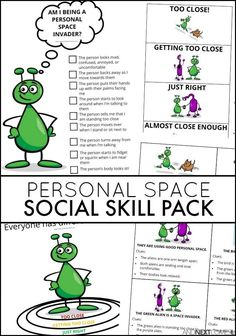 ABOUT THE PERSONAL SPACE SOCIAL SKILL PACK: This social skill pack is designed to reinforce concepts of personal space with kids in a fun way, using bright colorful aliens to illustrate the differences between being a space invader (aka showing bad personal space) and being a friend who shows good personal space. (affiliate)