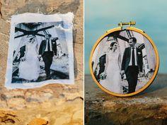 Hochzeisfoto im Stickrahmen mit Fototransfer selbst gemacht