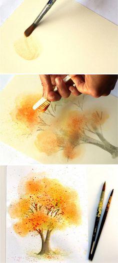 Watercolor Art Landscape, Watercolor Art Face, Watercolor Art Lessons, Watercolor Painting Techniques, Watercolor Art Paintings, Watercolor Pictures, Watercolor Trees, Easy Watercolor, Tattoo Watercolor