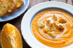 Delicious carrot cream soup with ginger and orange. Recipe for beautiful skin.