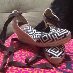 •FLASH SALE• TORY BURCH MONOGRAM ESPADRILLE HEELS GORGEOUS RARE TORY BURCH MONOGRAM ESPADRILLE WEDGE HEELS SIZE 38/8. PURCHASED FROM NORDSTROM FOR $320 NO BOX. WORN 2x ONLT FLAW IS SOME DIRT INSIDE THE SHOE BUT THATS NOT SEEN WHEN WORN. GREAT DEAL ON A GORGEOUS PAIR OF SHOES WITHOUT ANYWHERE NEAR THE RETAIL COST. •••PLEASE DO NOT BE SHY TO MAKE AN OFFER THROUGH THE OFFER OPTION••• Tory Burch Shoes Heels