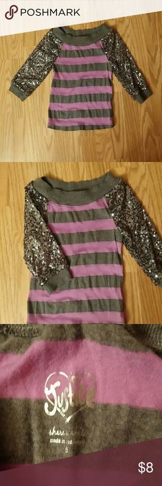 Girl's Justice striped top Justice Young Girl's size 6 purple and gray striped top with sequined 3/4 length sleeves. Wide boat neck and fairly thin material. Very cute and comfortable ☺ Justice Shirts & Tops Blouses
