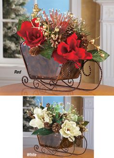 Magnolia Floral Sleigh Christmas Centerpiece