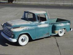 4 speed 1957 Chevrolet 3100 Pickup custom for sale Custom Trucks For Sale, Pickup Trucks For Sale, Custom Truck Parts, Vintage Pickup Trucks, Classic Pickup Trucks, Cars For Sale, Classic Trucks For Sale, Classic Cars, Chevy Classic