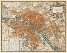 Paris map  Old map restored  Plan de Paris  34 x by AncientShades, $50.00