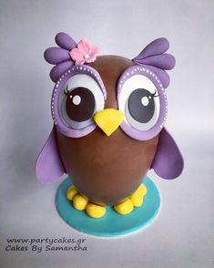 Easter Egg chocolate fondant sugarpaste how to decorate owl πως πασχαλινό σοκολατένιο αυγό αβγό με ζαχαρόπαστα Βαγια Κουκουβαγια Σαμάνθα Cakes By Samantha