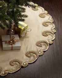 Kim Seybert Champagne Scroll Christmas Tree Skirt Z Christmas Tree Base, Christmas Skirt, Christmas Sewing, Elegant Christmas, Noel Christmas, Beautiful Christmas, Christmas Stockings, Christmas Crafts, Xmas Tree Skirts