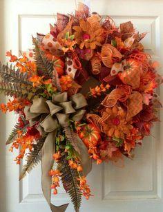 Orange fall leave wreath