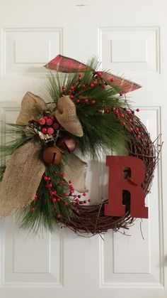 Rustic Christmas Grapevine Wreath Simply by TheChicyShackWreaths