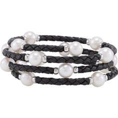 Sterling Silver Freshwater Cultured Pearl Wrap Polished Bracelet