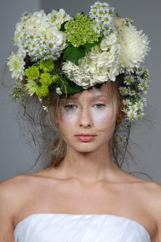 #WeddingHair   wedding hair down   floral headpiece wedding hair   Douglas Hannant