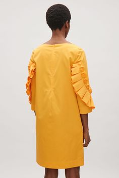 COS image 3 of Dress with frill detailed sleeves in Golden Yellow