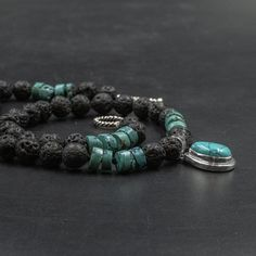 Blue Turquoise and Black Lava Stone Statement Necklace, Hand-knotted Black Beads and Sterling Silver Turquoise Pendant Necklace Gift for Her Turquoise Pendant, Turquoise Gemstone, Turquoise Bracelet, Greek Jewelry, Coral Jewelry, Necklace Designs, Stone Beads, Lava, Necklace Lengths
