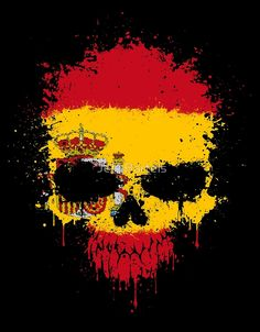Spanish Flag Splatter Skull Spanish Flags, Mexican Art Tattoos, Medieval, Spain, Gadgets, Skull, Wallpapers, Image, Ideas
