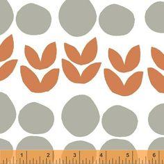 Bella, Leaves in Orange Fabric by Lotta Jansdotter for Windham Fabrics, Half Yard, 1/2 Yard