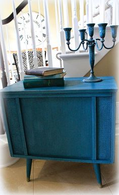 CeCe Caldwell's Thomasville Teal Upcycled radio cabinet painted furniture