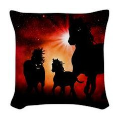 Horses, now on CafePress:  Our custom throw pillows add a bit of elegance with a subtle sheen to make sofas, chairs and beds extra cozy.