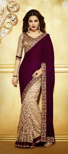 129237, Party Wear Sarees, Embroidered Sarees, Net, Brasso, Velvet, Thread, Lace, Resham, Stone, Beige and Brown Color Family