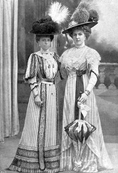 Queen Maria Cristina of Hapsburgh and Queen Victoria Eugenia of Spain, ca. 1906-07..