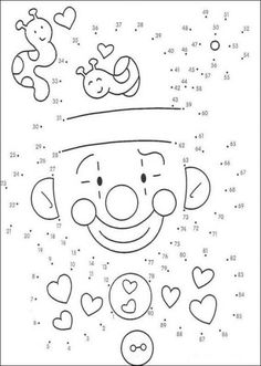 Clown game printable connect the dots game. Find out your favorite printable dot to dot games in DOT TO DOT games. Enjoy coloring with the colors of your . Hard Dot To Dot, Connect The Dots Game, Dot To Dot Puzzles, Dot To Dot Printables, Dotted Drawings, Dotted Page, Game Happy, Color By Numbers, Color Activities