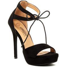 Elegant Footwear Dotty Platform Lace-Up Sandal (125 BRL) ❤ liked on Polyvore featuring shoes, sandals, black, ankle strap platform sandals, high heel shoes, open toe sandals, lace-up sandals and black platform sandals