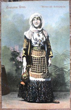 Griechenland Grecia Greece Greek Vintage Postcard Woman Traditional Costume | eBay Greek Traditional Dress, Greek Costumes, Greeks, Albania, Folk Art, Dance, Jewellery, Embroidery, Woman