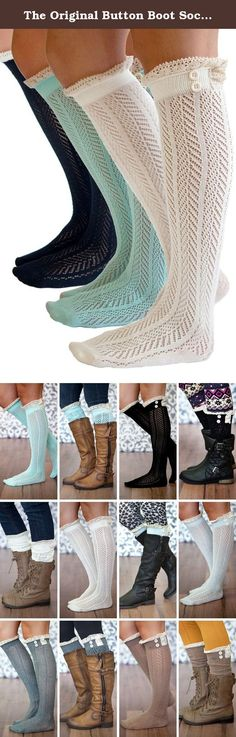 The Original Button Boot Socks with Lace Trim Boutique Socks by Modern Boho. Boutique Socks Brand are the #1 boot socks on Amazon. Why? The quality of our products is of the highest standards and our dedication to customers is unmatched. The Original Button Boot Socks! Give your legs a flattering layered look with these darling boot socks! Topped with lace and button details, these socks add depth and feminine flair to your outfit. These socks are thick enough to feel comfortable without...