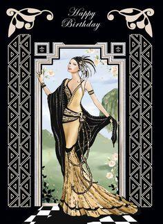 feminine birthday greetings - Google Search More Hand Made Greeting Cards, Vintage Greeting Cards, Happy Birthday Art, Birthday Greetings, Art Deco Cards, Jugendstil Design, Art Deco Stil, Vintage Birthday Cards, Art Nouveau Design