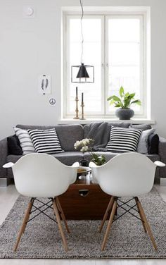 Lovely Living room with fantastic white chairs and a comfy grey designs interior design house design room design home design Living Room Grey, Home Living Room, Apartment Living, Living Room Designs, Living Room Decor, Cozy Apartment, Living Area, Apartment Interior, Decoration Inspiration