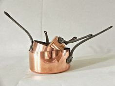 Vintage French copper pans from ChicFrangine on Etsy