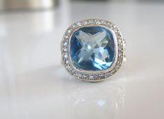 Designer Style CHUNKY Sterling Silver Blue Quartz Cable Ring Size 8 #DavidYurmanStyle #SolitairewithAccents #DavidYurman #DavidYurmanJewelry #Albion #AlbionStyle #SterlingSilver #SterlingRing