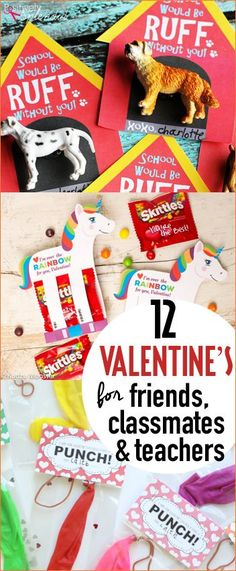 Top School Valentine's for Friends, Classmates and Teachers. Print, create and cut your very own Valentines. Non-candy Valentine options. Store bought treats with creative punny sayings. Unicorn, punch balloon and puppy Valentines.